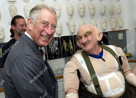 Prince Charles and Peter Hambleton at the Weta Workshop in Wellington