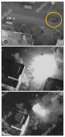A combination photo shows the car of Hamas commander Ahmed Al-Jaabari exploding during an Israeli air strike in Gaza City in this handout video footage released by the Israeli Army on November 14, 2012.