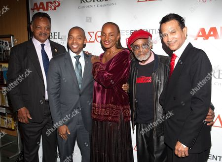 Stock Picture of Reverend Jesse Jackson, Khalil Muhammad, Susan L Taylor and Khephra Burns