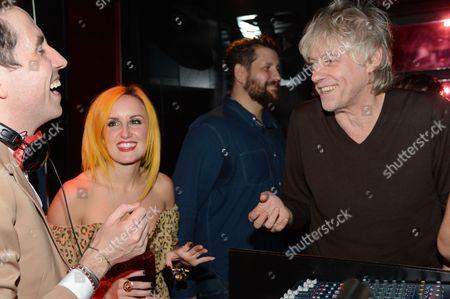 Nick Grimshaw with friend Aimee Phillips and Bob Geldof