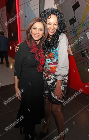 L-r Riz Lateef And Kanya King. Guests At The London Evening Standard's 1000 Influential's Party. Picture By: Nigel Howard Email: Nigelhowardmediaatgmail.com.