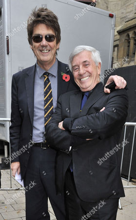 Funeral Of Sir Jimmy Savile At The Leeds Cathedral Leeds West Yorkshire (l) Dj Mike Read And Dj Tony Prince  9.11.11.