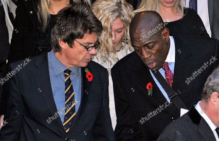 Funeral Of Sir Jimmy Savile At The Leeds Cathedral Leeds West Yorkshire. Dj Mike Read (l) And Frank Bruno.