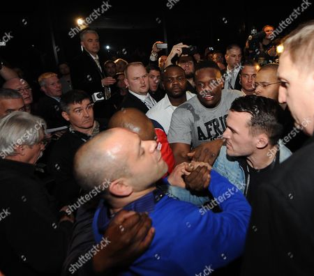 Boxing Wbc Heavyweight Munich Dereck Chisora V Vitali Klitschko. Chisora And Adam Booth During The Fight At The Press Conference. Mystery Man In Denim Jacket Attempted Peacemanker.