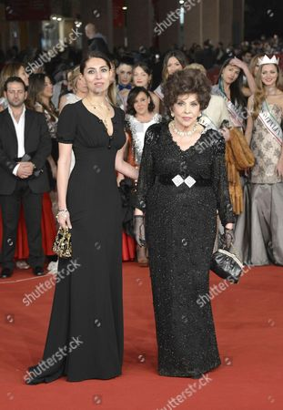 Stock Photo of Caterina Murino and Gina Lollobrigioda