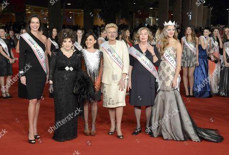 Stock Picture of Patrizia Mirigliani, Gina Lollobrigioda and Giusy Buscemi,