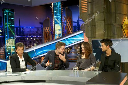 Stock Photo of Pablo Motos, Robert Pattinson, Kristen Stewart and Taylor Lautner