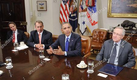 U.S. Secretary of the Treasury Timothy Geithner, Speaker of the U.S. House John Boehner, Barack Obama and U.S. Senate Majority Leader Harry Reid