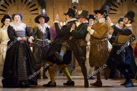 Paul Chahidi (Maria), Stephen Fry (Malvolio), James Garnon (Richmond/Duchess of York/Fabian), John Paul Connolly (First Murderer/Ratcliff/Antonio) and Ian Drysdale (Scrivener/Rivers/Blunt/Priest/Valentine)