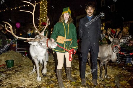 Angie Flint and Alex Zane with reindeer