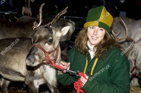 Angie Flint with reindeer