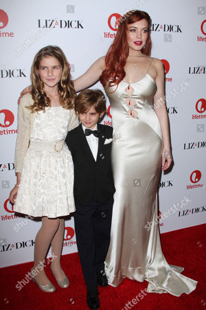 Stock Photo of Taylor Ann Thompson, Trevor Thompson and Lindsay Lohan