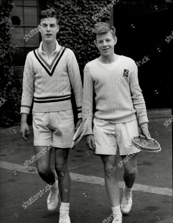 Junior Lawn Tennis Championships Of Great Britian At Wimbledon. Tony Pickard (l) And Billy Knight The Eventual Winner Walking Out To Begin Their Semi-final In The Boys Singles.