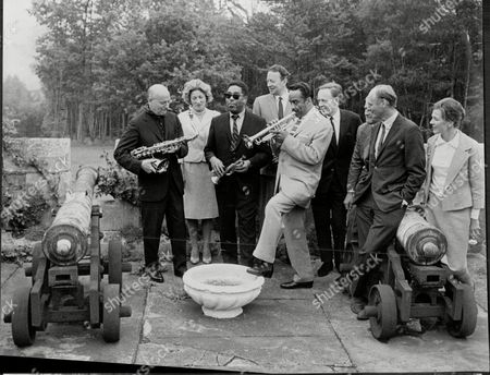 The Jazz Band Consisting Of Bud Freeman Mrs Gerald Lascelles (dead February 2001) Dizzy Gillespie Humphrey Littleton Buck Clayton Chris Barber Gerald Lascelles (dead February 1998) Lord Montareu Of Beaulieu And Lady Montague.