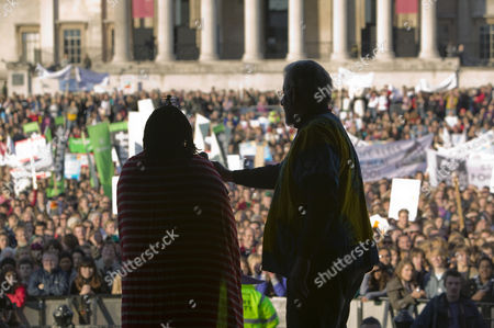 Adam Hart Davies addressing the crowds at the I Count Climate Change rally in Trafalgar Square London