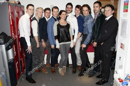Stock Photo of Sadie Frost with cast members Martin McCreadie (Alexander DeLarge), Tom Whitelock (Pete/Clown/The Doc), Will Stokes (Billy Boy/New Droog/The Governor/F-Me Pumps/Dance Captain), Neil Chinneck (F Alexander/Dr Brodsky/Pedofil/Mum), Simon Cotton (Joe/Dolin/New Droog/Big Jew), James Meryk (Georgie/Zophar/Bromine), Stephen Spencer (Dim/The Minister), Philip Honeywell (Branom/Mark/The Woman/Warder) and Rob Maloney (Deltoid/Chaplain/Old-Lady)