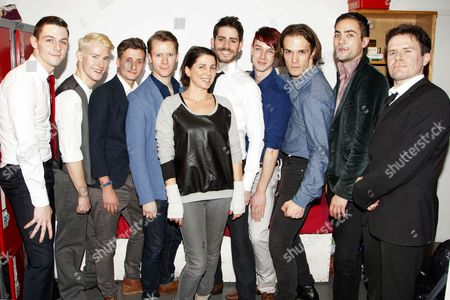 Stock Picture of Sadie Frost with cast members Martin McCreadie (Alexander DeLarge), Tom Whitelock (Pete/Clown/The Doc), Will Stokes (Billy Boy/New Droog/The Governor/F-Me Pumps/Dance Captain), Neil Chinneck (F Alexander/Dr Brodsky/Pedofil/Mum), Simon Cotton (Joe/Dolin/New Droog/Big Jew), James Meryk (Georgie/Zophar/Bromine), Stephen Spencer (Dim/The Minister), Philip Honeywell (Branom/Mark/The Woman/Warder) and Rob Maloney (Deltoid/Chaplain/Old-Lady)