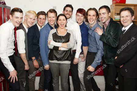 Stock Image of Sadie Frost with cast members Martin McCreadie (Alexander DeLarge), Tom Whitelock (Pete/Clown/The Doc), Will Stokes (Billy Boy/New Droog/The Governor/F-Me Pumps/Dance Captain), Neil Chinneck (F Alexander/Dr Brodsky/Pedofil/Mum), Simon Cotton (Joe/Dolin/New Droog/Big Jew), James Meryk (Georgie/Zophar/Bromine), Stephen Spencer (Dim/The Minister), Philip Honeywell (Branom/Mark/The Woman/Warder) and Rob Maloney (Deltoid/Chaplain/Old-Lady)