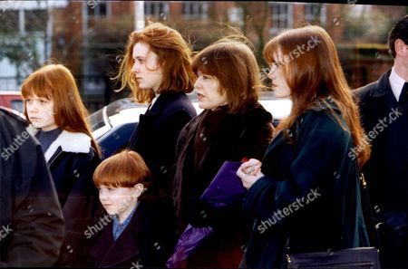 Frances Lawrence With Son Lucien And Daughters Unity Maroushka And Myfanwy At The Funeral Of Headmaster Phillip Lawrence.