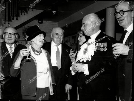 The Fifth Anniversary Of The Opening Of The Mermaid Theatre At Puddle Dock. Pic Shows Constance Cummings Lewis Cassan Dame Sybil Thorndike Bernard Miles And Daughter Sally.