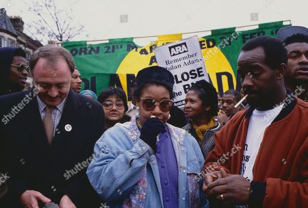 Anti-Nazi demonstrators march through South East London following the murder of black teenager Rolan Adams, including his parents Richard Adams and Audrey Adams, and Ken Livingstone