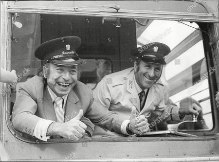 Musician And Band Leader Joe Loss (l) With Blackpool Tram Driver Harry Likover Joshua Alexander 'joe' Loss Lvo Obe (22 June 1909 A 6 June 1990) Was A British Musician Popular During The British Dance Band Era And Was Founder Of The Joe Loss Orchestra.