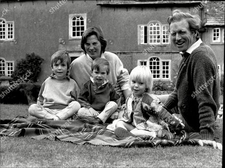 Editorial image of Richard Meade With His Family Wife Angela And Children James 5 Harry 4 And Richard 2 At His Church Farm West Littleton Near Chipenham.