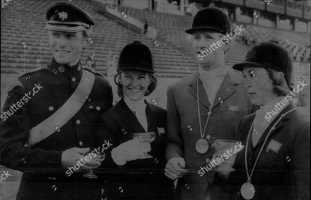 The Great Britain Olympic Equestrian Team Mark Phillips Mary Gordon Watson Richard Meade And Bridget Parker.