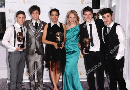 Stock Image of Friday Download cast: Aidan Davis, Tyger Drew-Honey, Dionne Bromfield, Georgie Lock, Richard Wisker and Ceallach Spellman