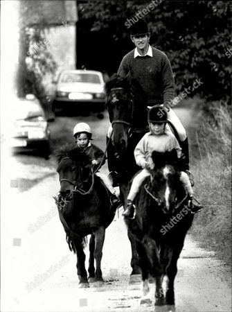 Richard Meade The Show Jumper With His Two Sons Harry In The White Hat Riding Tom Thumb And James In The Dark Hat Riding Johnny.