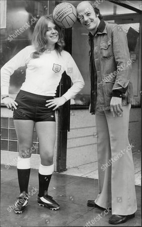 Terry Mancini Of Arsenal Fc With Susan Field At Opening Of A Sports Shop Owned By Terry's Uncle (not Shown) 1975.