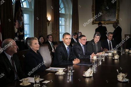 Secretary of the Interior Kenneth L. Salazar, Secretary of State Hillary Clinton, Brack Obama, Secretary of Defence Leon E. Panetta, Secretary of Homeland Security Janet A. Napolitano, and Office of Management & Budget (OMB) Acting Director Jeffrey Zients