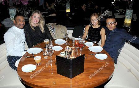 Stock Image of Jonathan Gill and girlfriend Chloe Tangney with Sarah Richards and Aston Merrygold
