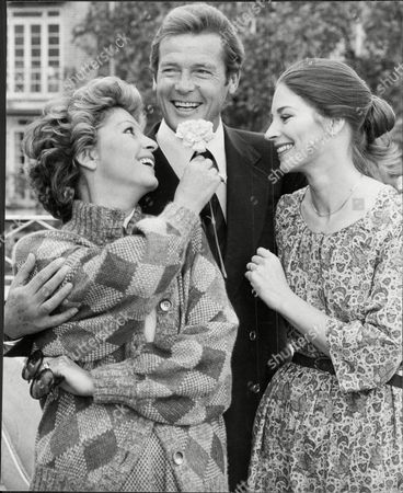 Sir Roger Moore Actor With His Wife Luissa Mattioli (divorced March2002) And Actresses Barbara Kellerman.