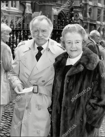 Actor Sir John Mills (dead April 2005) And Lady Mills (dead December 2005) At A Memorial Service For Ralph Richardson.