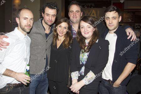 Stock Photo of Tim Steed (Joe), Daniel Mays (Jamie), Susannah Wise (Lisa), Jeremy Herrin (Director), EV Crowe (Author) and Liam Garrigan (Danny)