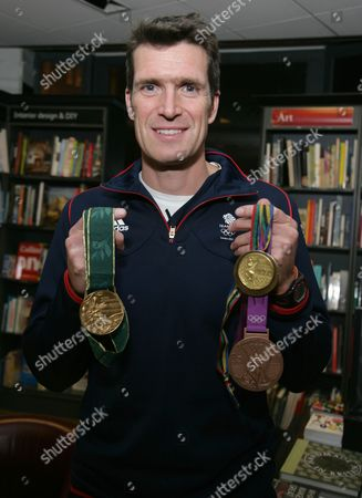 Stock Image of Greg Searle with his Olympic medals