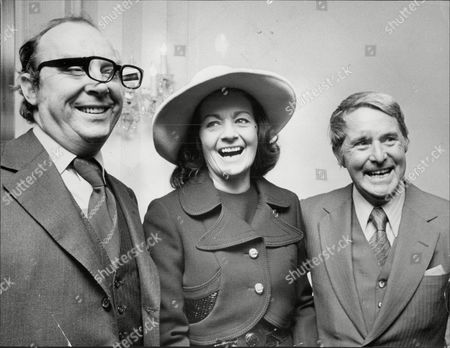 Eric Morecambe And Ernie Wise Tv Comedians With Actress Margaret Lockwood At Foyle's Luncheon 1973.