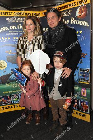 Mark Owen with wife Emma Ferguson, Elwood and Willow.