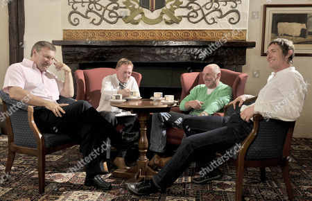 Former North East Football Players Talk To Colin Young (centre) About Relegation. Pictured Are Colin Todd Gary Bennett John Anderson And Alan Fettis.