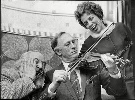 Joe Mercer Footballer And Manager (died 8/90) With Stars From Musical 'fiddler On The Roof' - Lex Goudsmit And Thelma Ruby.