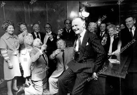 Stock Image of Sir John Mills(dead April 2005) Party L To R Dame Flora Robson Moira Lister Richard Attenborough Dickie Henderson Robert Morley Unknown David Jacobs June Whitfield Jack Hedley And Seated Lionel Jeffries And Harry Secombe.