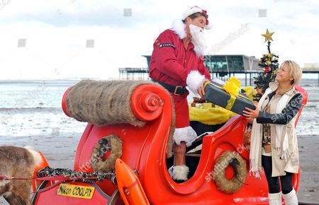 Editorial image of David Hasselhoff stars as Father Christmas in Nikon COOLPIX Alternate Christmas Photo, Southport, Britain - 30 Nov 2012