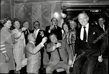 Sir John Mills(dead April 2005) Party L To R Dame Flora Robson Moira Lister Richard Attenborough Dickie Henderson Robert Morley Unknown David Jacobs June Whitfield Jack Hedley And Seated Lionel Jeffries And Harry Secombe.