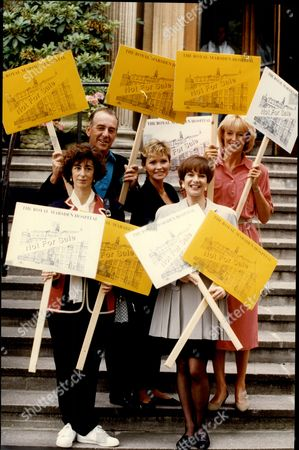 Editorial image of Maureen Lipman (actress) Lennie Bennett (comedian) Fiona Fullerton (actress) Sue Carpenter (newsreader) And Diana Moran (model And Tv Fitness Expert The Green Goddess) All With Placards Royal Marsden Hospital Petition 1993.