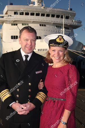 Captain of mv Voyager Captain Neil Broomhall and Miranda Krestovnikoff