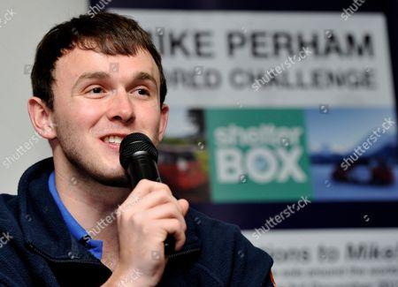 Mike Perham speaks to the media after successfully circumnavigating the globe in a Spaceship Camper van