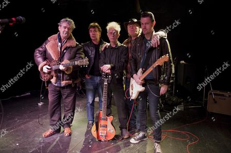 King Mob Beat Band In Rehearsal. L-r Chris Spedding Glen Matlock Stephen W. Parsons Martin Chambers Sixteen. Picture By Glenn Copus.