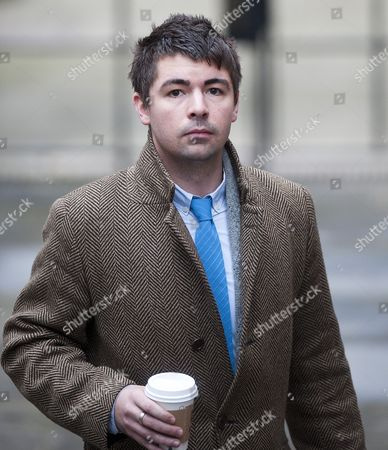 Stock Image of Journalist Richard Peppiatt Arriving At The Leveson Enquiry At The High Court In London. 29.11.11.