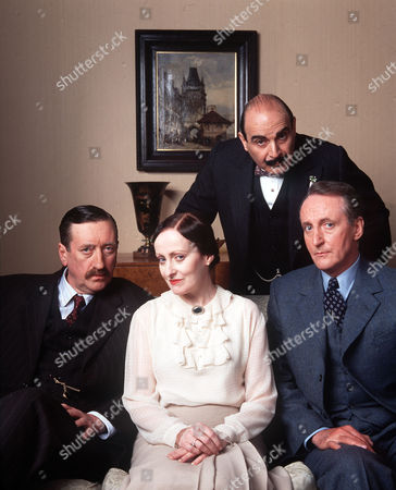 David Suchet as Poirot, Philip Jackson as Chief Inspector Japp, Pauline Moran as Miss Lemon and Hugh Fraser as Captain Hastings.